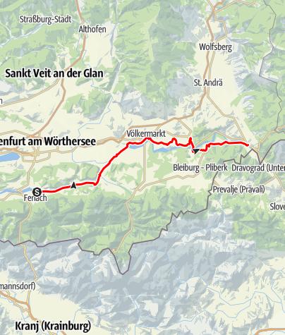Karte / Drauradweg Etappe 6: Ferlach-Lavamünd
