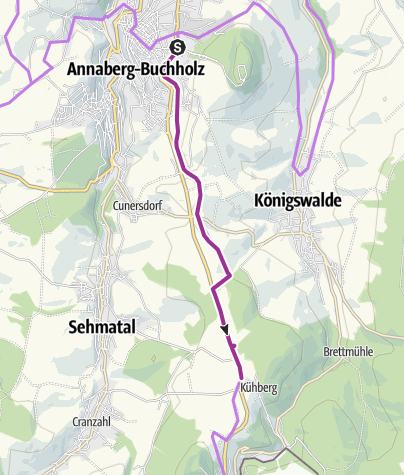 Karte / Radweg Annaberg - Morgensonne - Kühberg