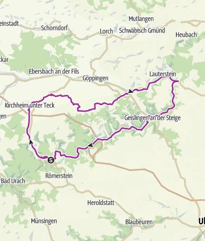 Karte / E-Bike-Region Stuttgart: Nebenroute 4 - Obstroute / Lauter-Alb-Lindach Radweg
