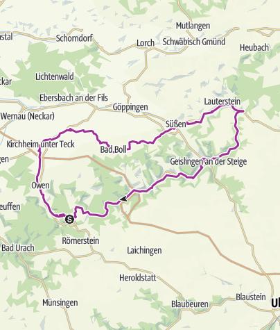 Schwäbische Alb Karte Städte.E Bike Region Stuttgart Nebenroute 4 Obstroute Lauter Alb