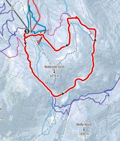 Karte / Miederer Berg - Waldrasterjöchl Variante 1