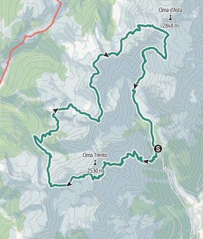 Karte / Sorgazza Alm- -Brentari Hütte - Caldenave Hütte– Sorgazza Alm