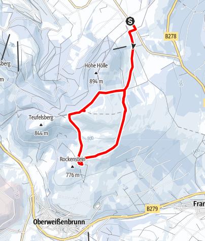 Karte / Würzburger Bergbund Hütte vom Parkplatz Schwedenwall