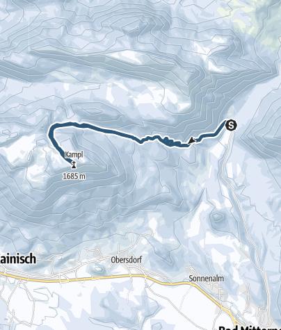 Karte / Kampl (1685m) - Aufstieg vom Kochalmbauern