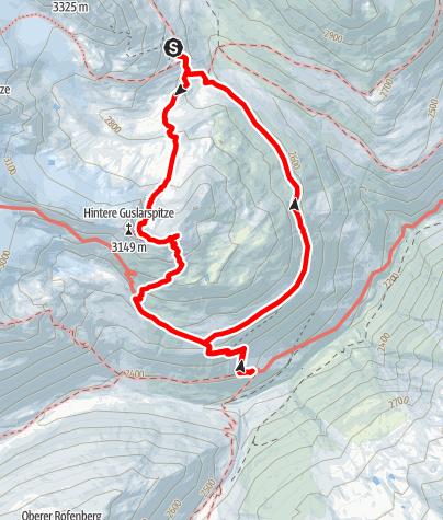 Karte / Mittlere Guslarspitze von der Vernagthütte