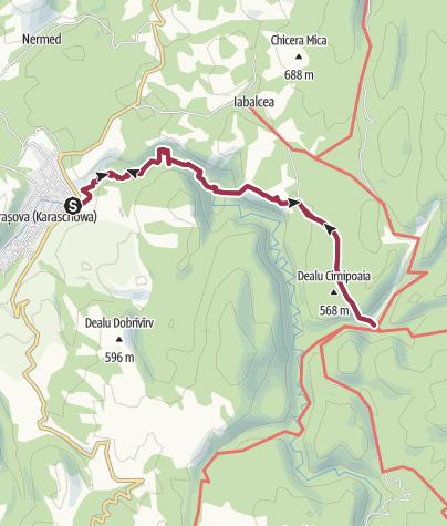 Karte / Wanderung zu Höhle Comarnic über Carasova