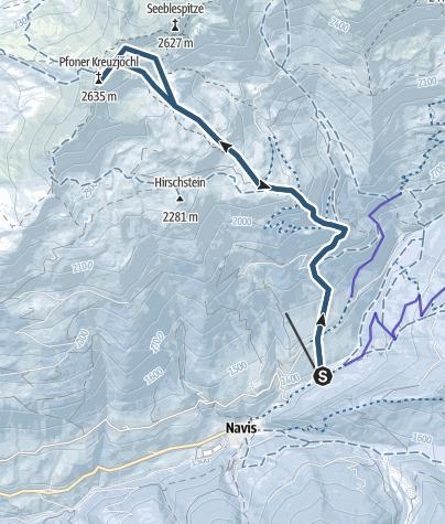 Karte / Pfoner Kreuzjöchl - beliebtes Skitourenziel im Navistal