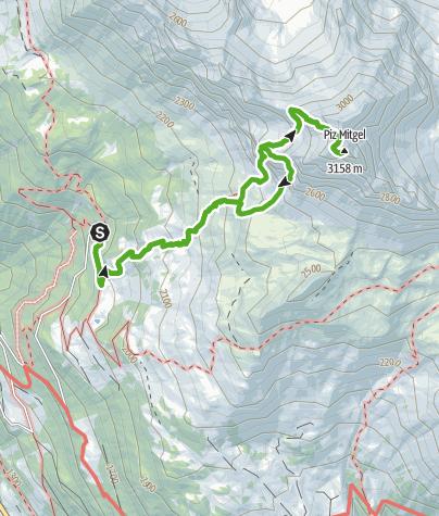 Map / Plang la Curvanera - Piz Mitgel - Plang la Curvanera