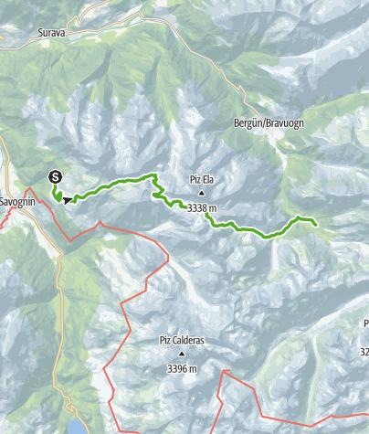 Map / Plang la Curvanera - Pass digls Orgels - Pass d'Ela - Preda