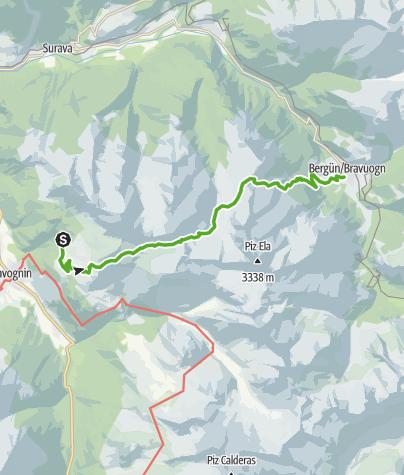 Map / Plang la Curvanera - Pass digls Orgels - Bergün