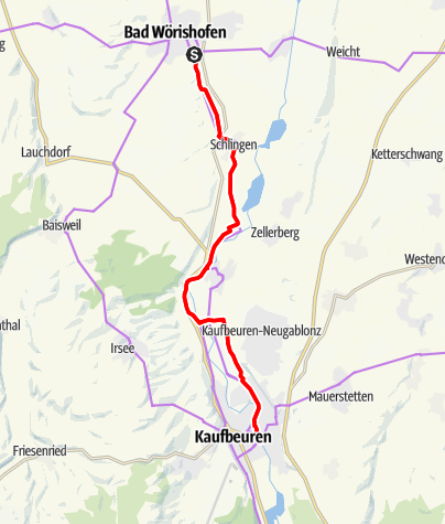 Karte / Radtour nach Kaufbeuren