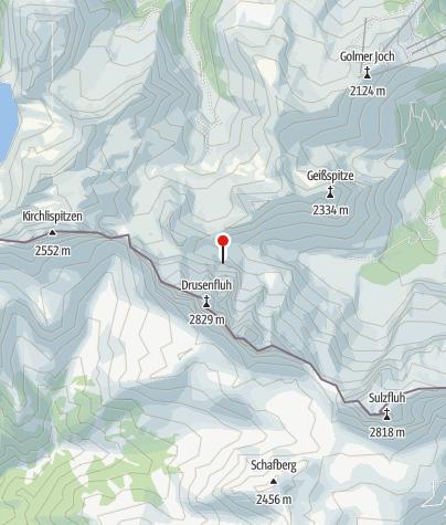 Karte / Einstieg und Ausstieg Klettersteig Blodigrinne - Drusenfluh