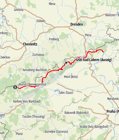 Karte / Erzgebirgsradmagistrale Krusnohorska Magistrala R23 Jeleni-Decin