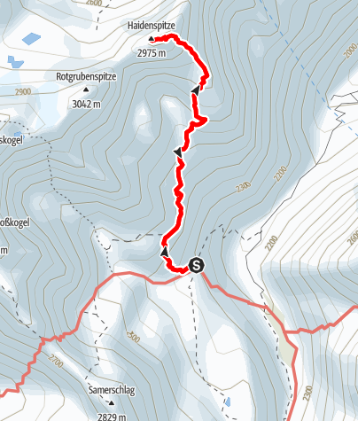 Karte / Haidenspitze 2975 m (Haidenkogel) Gipfeltour Pforzheimer Hütte