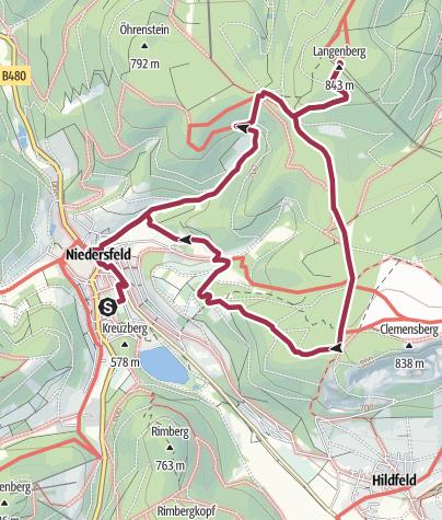 Karte / Weg zum Langenberg (N2) Start: Winterberg-Niedersfeld