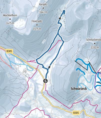 Karte / Schneeschuhwanderung zur Mordaualm