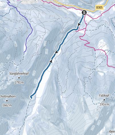Karte / Schneeschuhwanderung zum Wimbachschloss