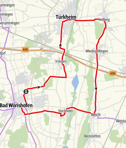Karte / Radtour von Bad Wörishofen nach Türkheim