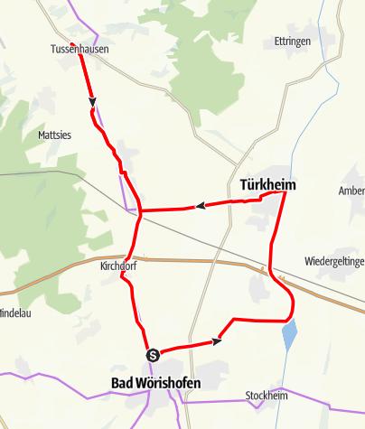 Karte / Radtour von Bad Wörishofen nach Tussenhausen
