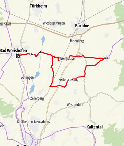 Karte / Radtour von Bad Wörishofen nach Waal in den Passionsspielort Schwabens