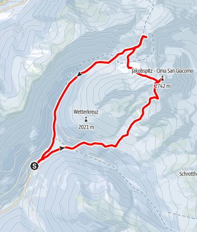 Karte / Jakob Spitze und Hörtlaner Spitze von Durnholz