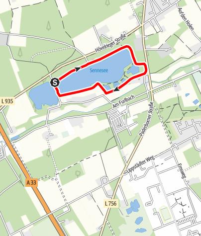 Karte / A4: Senne-See-Wanderweg / lokaler Rundwanderweg