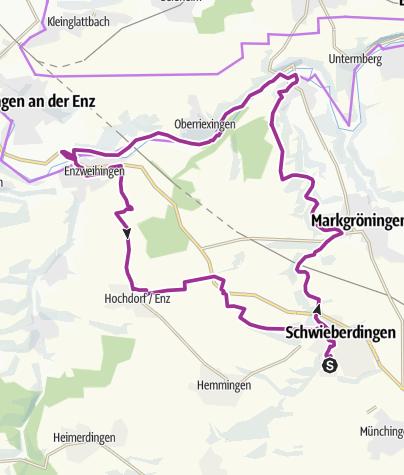 Karte / E-Bike-Region Stuttgart: Nebenroute 2 - Enztal-Radweg / Kult.Tour.Radweg. / Keltenweg