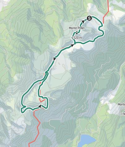 Cartina / Escursione ad anello attraverso il panoramico Pian della Nana e alla base della Cima Sasso Rosso