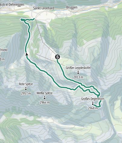 Karte / Großes Degenhorn vom Mooserberg - Abstieg über Bruggeralm nach St. Jakob