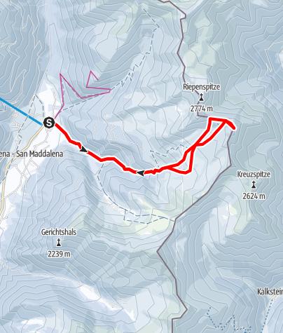 Karte / Rotlahner - schöner Schigipfel im Gsiesertal