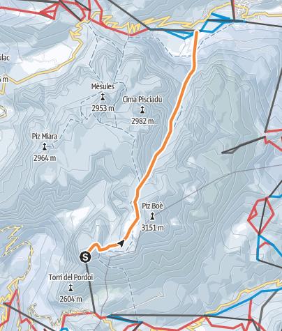 Karte / Mittagstal - Ski-Freeride quer durch den Sellastock