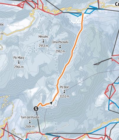 Map / Mittagstal - Ski-Freeride quer durch den Sellastock