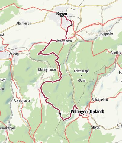 Karte / Briloner Kammweg 1. Etappe von Brilon über die Ginsterköpfe nach Willingen