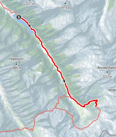 Karte / Kasseler Hütte (2177 m) von Mayrhofen (Bhf) über Gasthaus Wasserfall und Grüne Wand Hütte