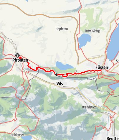 Karte / Wandertrilogie Allgäu - Etappe Pfronten bis Füssen