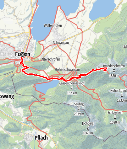 Karte / Wandertrilogie Allgäu - Etappe Füssen bis Tegelberghaus