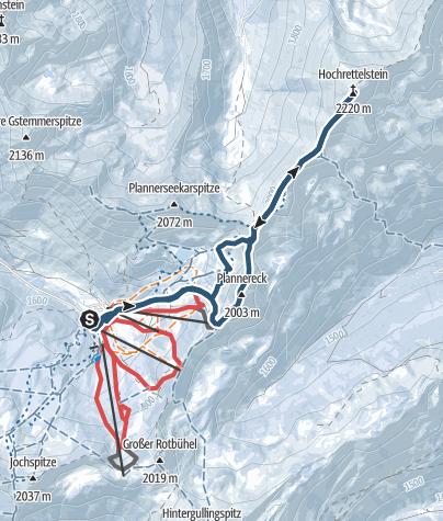Karte / Hochrettelstein schwer mit Gratübergang, Planneralm