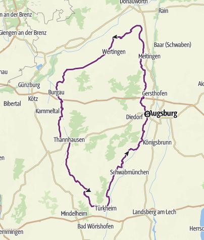 Schwaben Karte.Augsburger Schlössertour Fernradweg Outdooractive Com