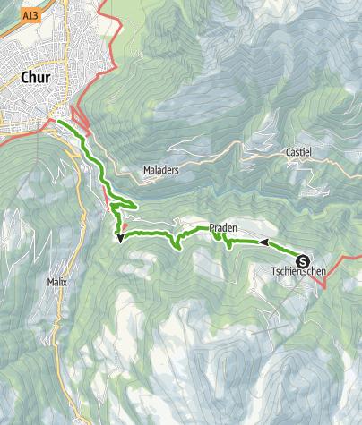 Map / 43.11 Tschiertschen - Chur, Jakobsweg Graubünden