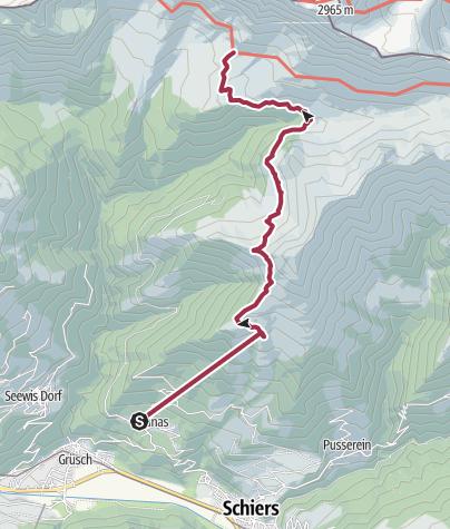 Karte / Von der Bergstation Fanas in die Schesaplanahütte