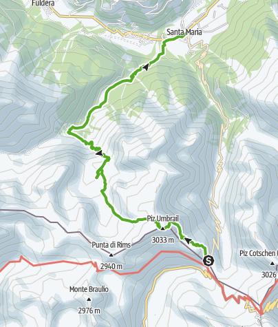 Karte / Piz Umbrail und Abstieg zum Lai da Rims