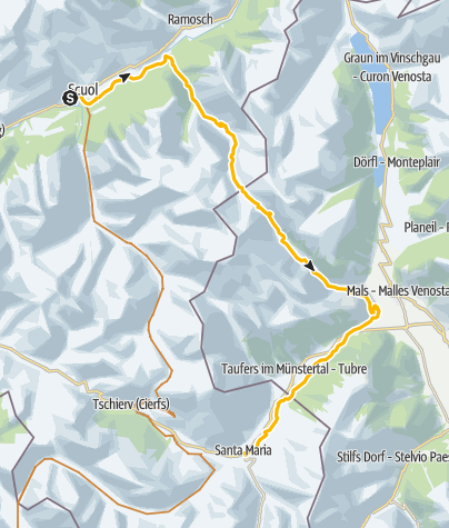 Map / Uina-Bernina Bike-Tour. Etappe 1, Scuol – Sta. Maria