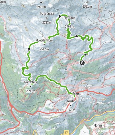 Karte / Ftan - Piz Clünas - Alp Laret (Rundweg)