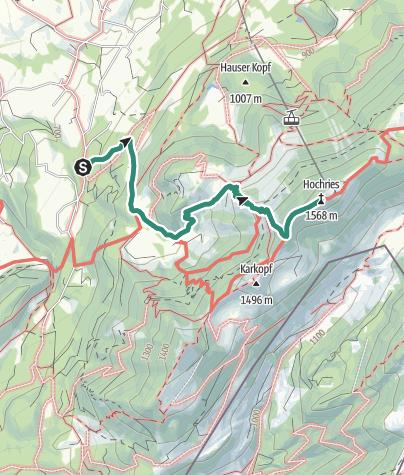 Karte /  Samerberg - über die Spatenau zur Hochries - DAV-Weg Nr. 216 c