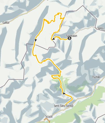 Map / 443: Fimberpass - Val d'Uina - Reschenpass: Etappe 1, Samnaun - Sent