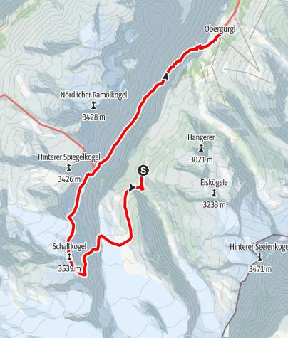 Karte / Schalfkogel Überschreitung von der Langtalereckhütte, Abstieg nach Obergurgl