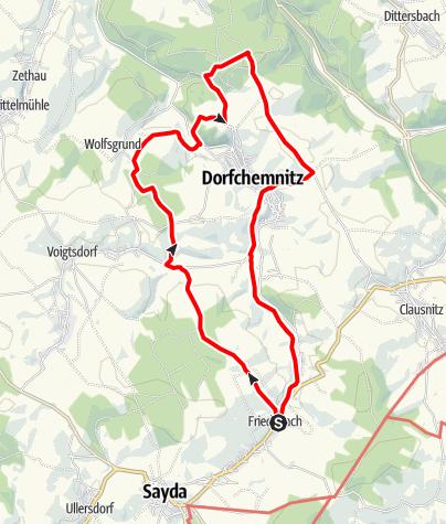 """Karte / Über den """"Eisenhammer Dorfchemnitz"""" zum """"Sauensäger"""" nach Blockhausen und zurück"""