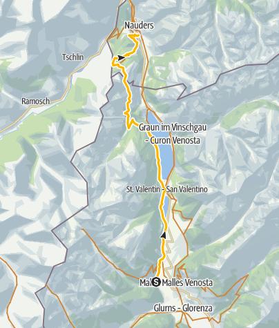 Map / 443: Fimberpass - Val d'Uina - Reschenpass: Etappe 3, Mals/Malles – Martina