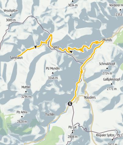 Map / 443: Fimberpass - Val d'Uina - Reschenpass: Etappe 4, Martina - Samnaun