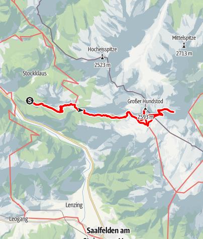 Karte / Gr. Hundstod 2594 m, im Steinernen Meer, mit Bikeunterstützung